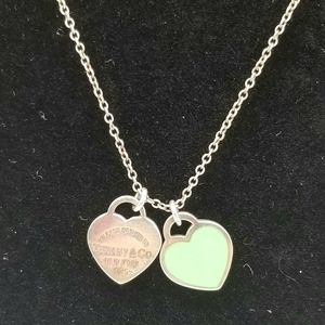 Authentic Tiffany & Co. 2 Hearts Necklace Blue